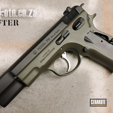 Cerakoted Refinished Cz-75 Handgun In H-236 And H-146