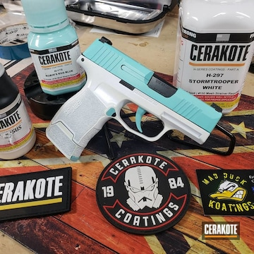 Cerakoted Two Toned Sig Sauer P365 Handgun In H-175 And H-297