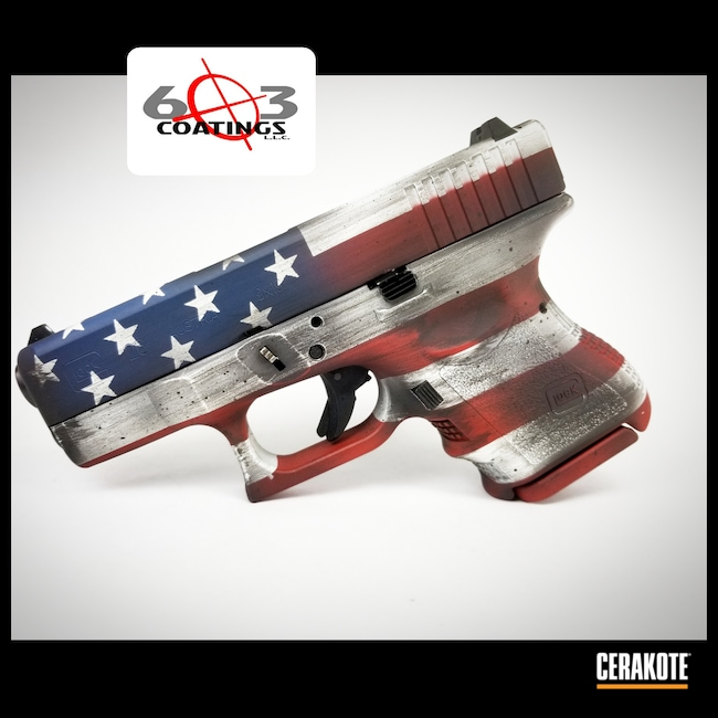 Cerakoted: S.H.O.T,Laser Stippled,Custom Glock,Snow White H-136,Distressed American Flag,Crimson H-221,KEL-TEC® NAVY BLUE H-127,Armor Black H-190,Pistol,Glock,American Flag