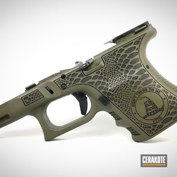 Cerakoted Don't Tread On Me Themed Glock Frame In H-236