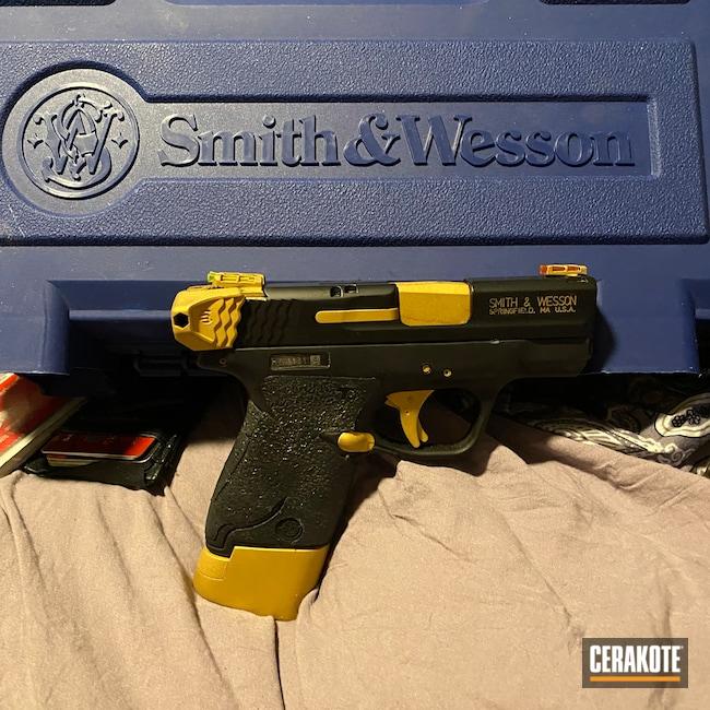 Cerakoted: S.H.O.T,M&P Shield 9mm,Graphite Black H-146,Two Tone,Smith & Wesson M&P,Pistol,Gold H-122