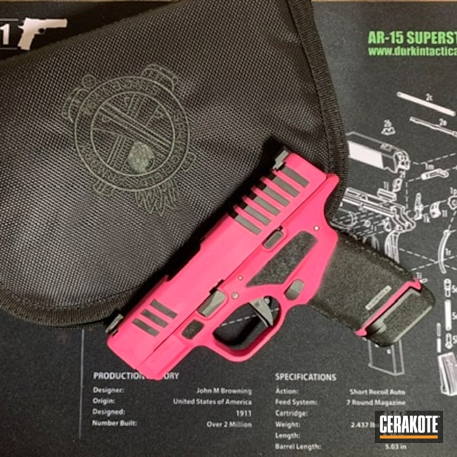 Cerakoted: S.H.O.T,9mm,EDC Pistol,Armor Black H-190,Pistol,Springfield Armory,Prison Pink H-141,Sword and Shield,Hellcat,She Carries Pink