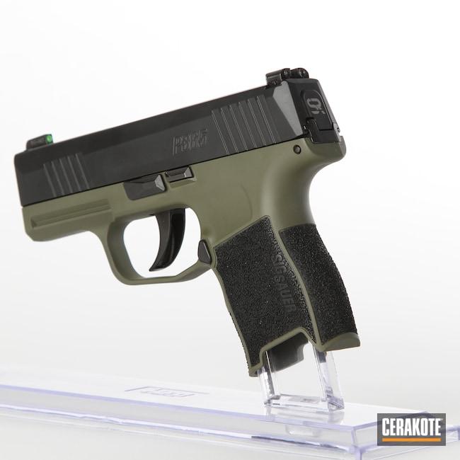 Cerakoted: S.H.O.T,9mm,Sig Sauer P365,Mil Spec O.D. Green H-240,Two Tone,Pistol,Sig Sauer,Noveske Bazooka Green H-189,Handguns
