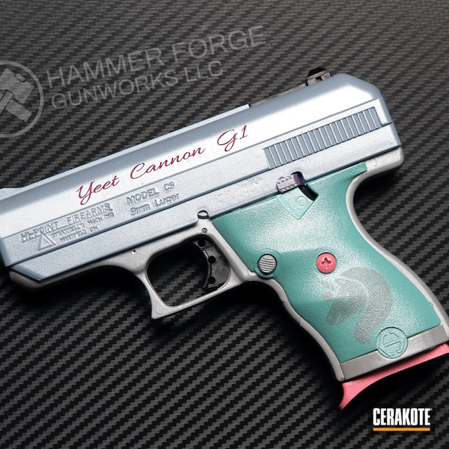 Cerakoted: S.H.O.T,9mm,Robin's Egg Blue H-175,Snow White H-136,PINK SHERBET H-328,Bright Purple H-217,Satin Aluminum H-151,Pistol,Hi-Point,Handguns