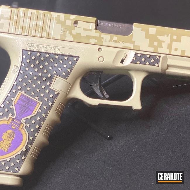 Cerakoted: S.H.O.T,Laser Stippled,Custom Glock,Coyote Tan H-235,Bright Purple H-217,Purple Heart,Laser Stippling,Pistol,Glock,Gold H-122