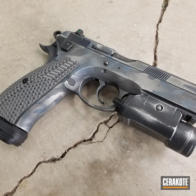 Cerakoted: S.H.O.T,CZ75 SP01,Blue Titanium C-189,Graphite Black H-146,CZ-USA,SAVAGE® STAINLESS H-150,Tungsten H-237,CZ 75,Pistol,CZ,Custom Camo