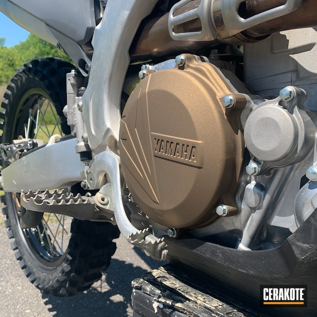 Cerakoted: Motorcycle Engine,YZ450F,Motorcycles,Motocross,Yamaha,Burnt Bronze H-148,More Than Guns,Dirt Bike,Clutch Cover