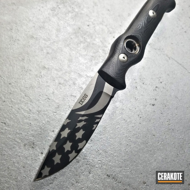 Cerakoted: S.H.O.T,Arkansas Made Dozier Knives,Tusk Bushcraft,BLACKOUT E-100,Fixed Blade,Dozier,Knife