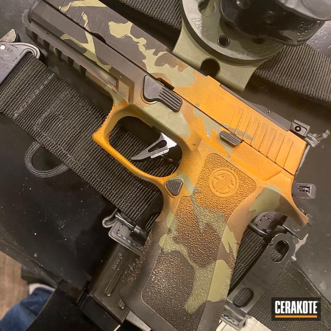 Cerakoted: TEQUILA SUNRISE H-309,S.H.O.T,9mm,MULTICAM® BRIGHT GREEN H-343,P-320 Legion,Sig Sauer X5,Graphite Black H-146,Pistol,Sig Sauer,Custom Camo