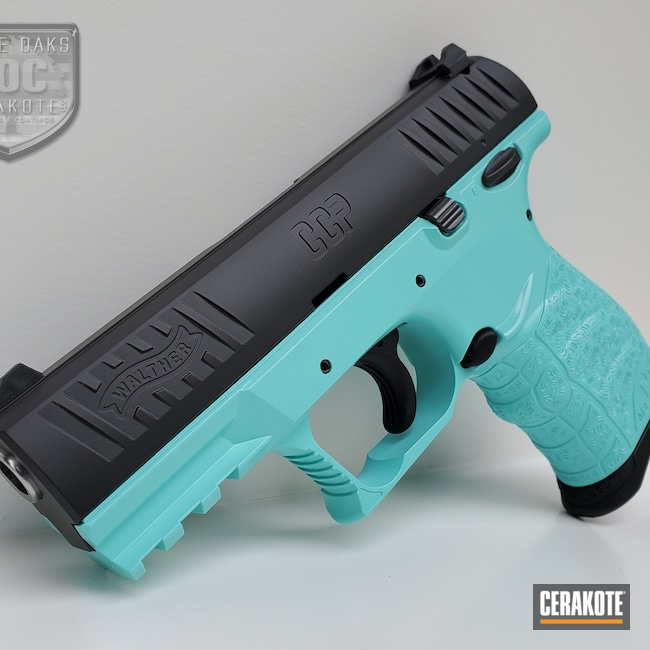 Cerakoted: S.H.O.T,9mm,Walther,Robin's Egg Blue H-175,Two Tone,Walther CCP,CCP,Armor Black H-190,Pistol