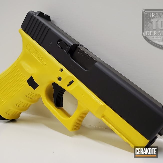 Cerakoted: S.H.O.T,Glock 19,9mm,Electric Yellow H-166,Armor Black H-190,Pistol,Glock,Gen 4