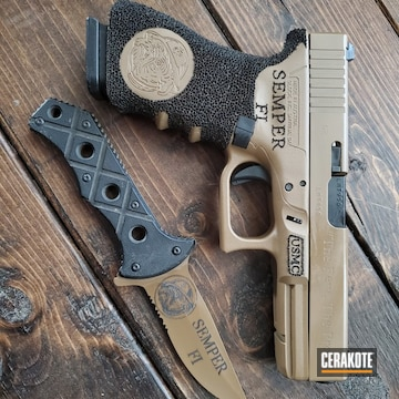 Cerakoted Matching Glock 22 And Knife In H-307