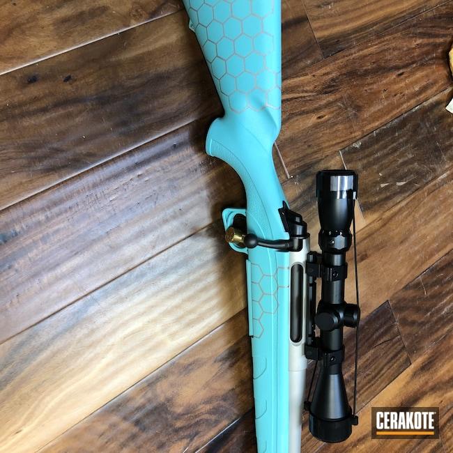 Cerakoted: S.H.O.T,Rifle,Bolt Action Rifle,Shimmer Aluminum H-158,Robin's Egg Blue H-175,.243