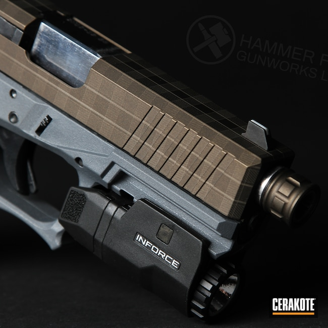 Cerakoted: S.H.O.T,Glock 19,9mm,Polymer80,Plaid,Pistol,Glock,Midnight Bronze H-294,Laser Engrave