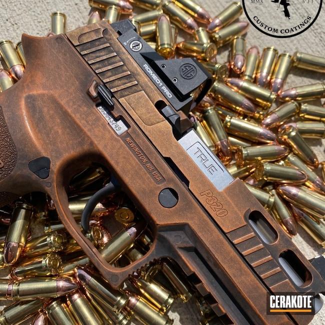 Cerakoted: TEQUILA SUNRISE H-309,S.H.O.T,9mm,Sig Sauer P320,Graphite Black H-146,Pistol