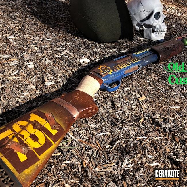 Cerakoted: S.H.O.T,Vault-Tec,Corvette Yellow H-144,COPPER SUEDE H-310,Zombie Green H-168,Crimson H-221,870,Remington,Pump-action Shotgun,Plum Brown H-298,NRA Blue H-171,Shotgun,Fallout,Post Apocalyptic,old glory guns & ammo