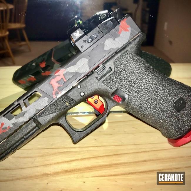 Cerakoted: S.H.O.T,9mm,MultiCam,Crimson H-221,Armor Black H-190,Pistol,Glock,Tactical Grey H-227