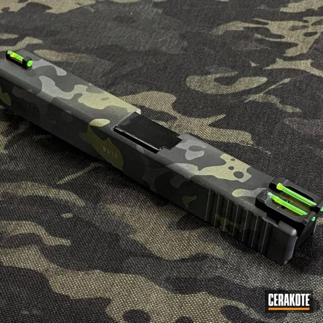 Cerakoted: S.H.O.T,9mm,Sniper Grey H-234,Graphite Black H-146,Pistol,Glock,Glock 17,Noveske Bazooka Green H-189,MultiCam Black,G17
