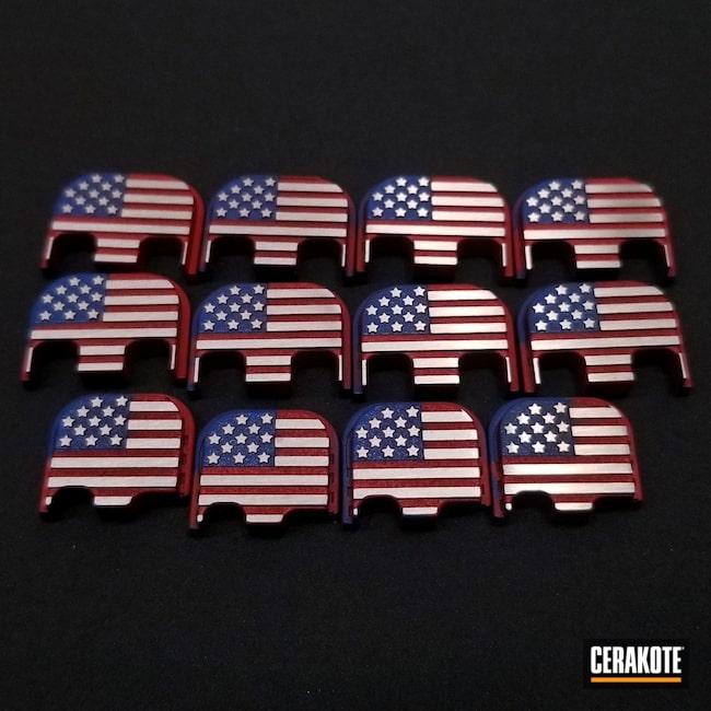 Cerakoted: S.H.O.T,Glock 19,Custom Glock,NRA Blue H-171,Back Plate,Glock,Glock 17,Glock Back Plate,SMITH & WESSON® RED H-216,Glock 43