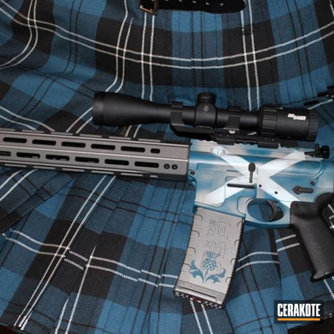 Cerakoted: S.H.O.T,Scottish Thistle,Tungsten H-237,Tactical Rifle,.223,Scotland,Hidden White H-242,Graphite Black H-146,AR,Stormtrooper White H-297,Distressed Flag,Ridgeway Blue H-220,Scottish Saltire,Noreen Firearms,Sky Blue H-169