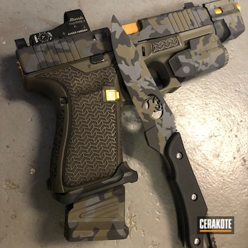 Cerakoted Multicam Black Knife And Handgun