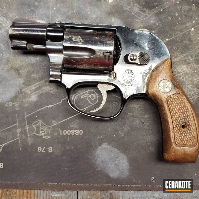 Cerakoted: S.H.O.T,Graphite Black H-146,Smith & Wesson,Revolver,Before and After