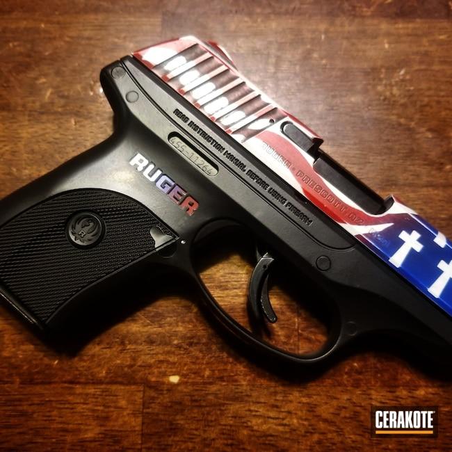 Cerakoted: S.H.O.T,9mm,NRA Blue H-171,FIREHOUSE RED H-216,Ruger,Ruger pistol,ec9,BLACKOUT E-100,Stormtrooper White H-297,Pistol,Flag Theme,Ruger EC9
