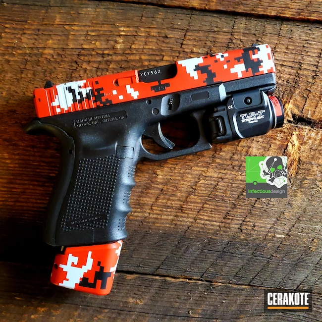 Cerakoted: Hidden White H-242,S.H.O.T,Glock 19,9mm,Conceal Carry,Digital Camo,Graphite Black H-146,Pistol,Glock,SMITH & WESSON® RED H-216,EDC