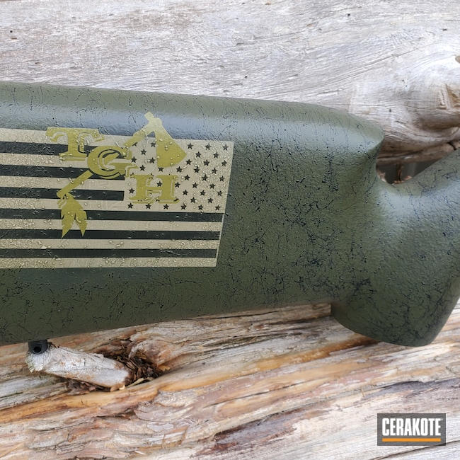 Cerakoted: S.H.O.T,Rifle,MULTICAM® LIGHT GREEN H-340,Long Action,BENELLI® SAND H-143,Bell and Carlson,Stock,Medalist