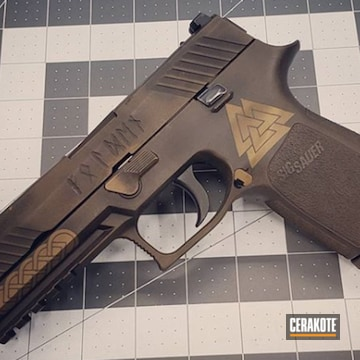 Cerakoted Viking Themed Sig P320 In H-146 And H-148