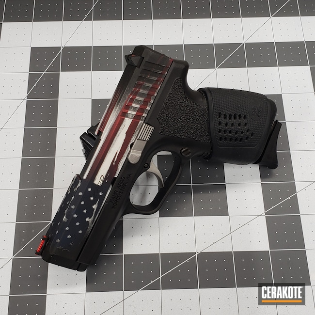 Cerakoted: S.H.O.T,Patriotic,FIREHOUSE RED H-216,Snow White H-136,Graphite Black H-146,Distressed American Flag,Kahr CW9,Ridgeway Blue H-220,Pistol,Kahr,Murican