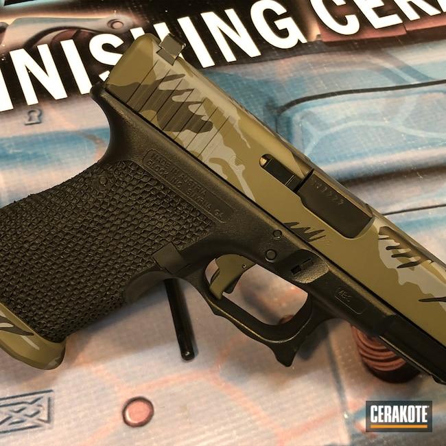 Cerakoted: Glock 19,9mm,Rhodesian Camo,Graphite Black H-146,BATTLESHIP GREY H-213,Pistol,Glock,O.D. Green H-236