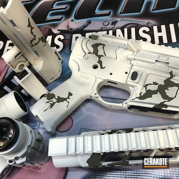 Cerakoted Snow Camo Ar Parts In H-234, H-136 And H-236