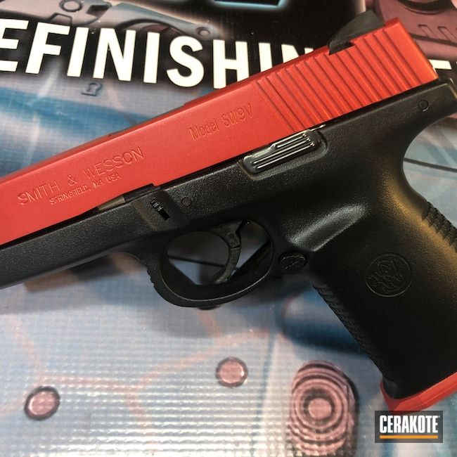 Cerakoted: S.H.O.T,9mm,Two Tone,Smith & Wesson,HABANERO RED H-318,Pistol