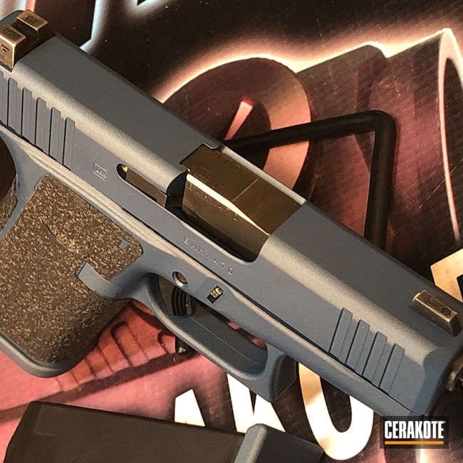 Cerakoted: S.H.O.T,9mm,Glock 43X,Glock,Blue Titanium H-185