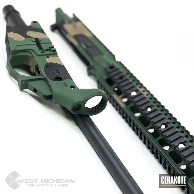 Cerakoted: S.H.O.T,MultiCam,Desert Sand H-199,Upper / Lower / Handguard,Firearm,Armor Black H-190,Mega Arms,Forest Green H-248,Firearms