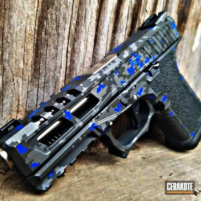 Cerakoted Glock 17 Digital Camo In C-158, H-170 And H-112