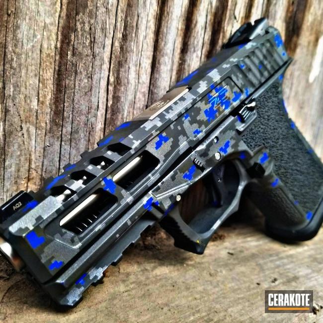 Cerakoted: S.H.O.T,9mm,Digital Camo,BLUE FLAME C-158,Titanium H-170,Pistol,Glock,Glock 17,Cobalt H-112