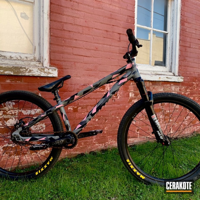 Cerakoted: Bike Frame,Dirt Jumper,P3,Bike,MTB,More Than Guns,Modern Camo,Bicycles,Bazooka Pink H-244,Stone Grey H-262,Mountain Bike,Geometric,Graphite Black H-146,Bicycle,Specialized,SMITH & WESSON® GREY H-214,Splinter Camo,Sports and Fitness