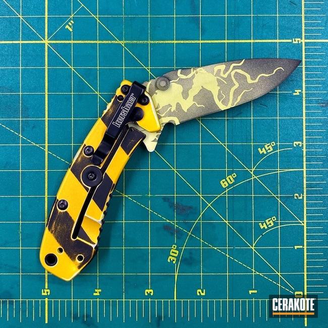 Cerakoted: S.H.O.T,cryo,Ghost Trap,Graphite Black H-146,MOJITO H-313,Knife,EDC,Kershaw,SUNFLOWER H-317,pocket dump,Ghostbusters,Custom Knives