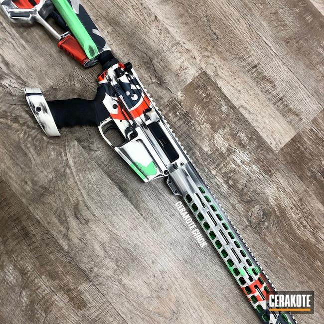 Cerakoted: S.H.O.T,Snow White H-136,Graphite Black H-146,AR,Tactical Rifle,PARAKEET GREEN H-331,Hunter Orange H-128