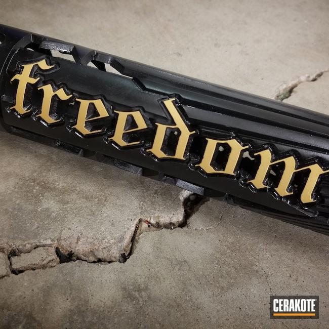 Cerakoted: SHOT,Unique AR Custom Handguard,Graphite Black H-146,Handguard,Freedom,Gold H-122,Unique-Ars