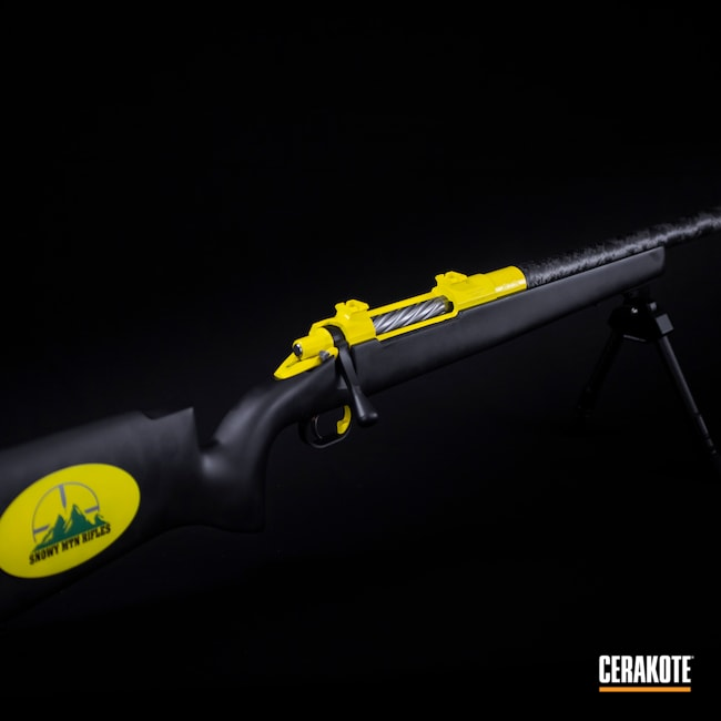 Cerakoted: S.H.O.T,Rifle,Bolt Action Rifle,Snowy Mountain Rifles,Electric Yellow H-166,Graphite Black H-146,SQUATCH GREEN H-316