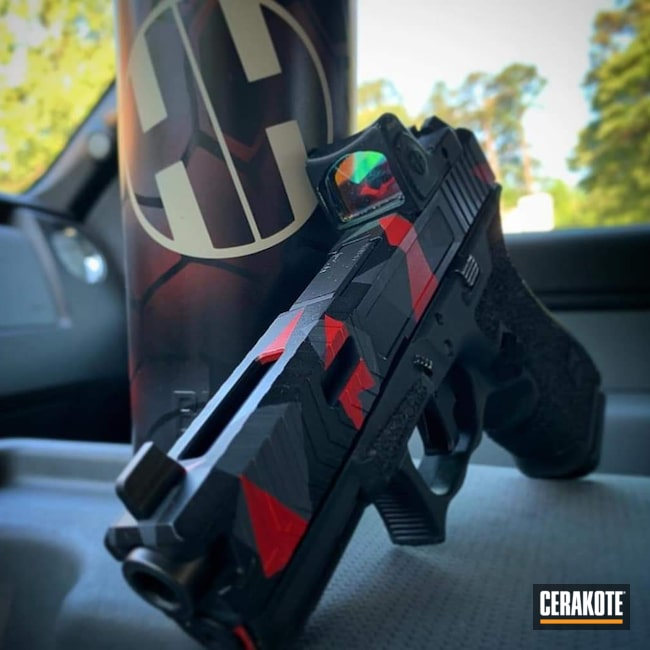 Cerakoted: SHOT,Pistol,Glock,Splinter Camo,SMITH & WESSON® RED H-216
