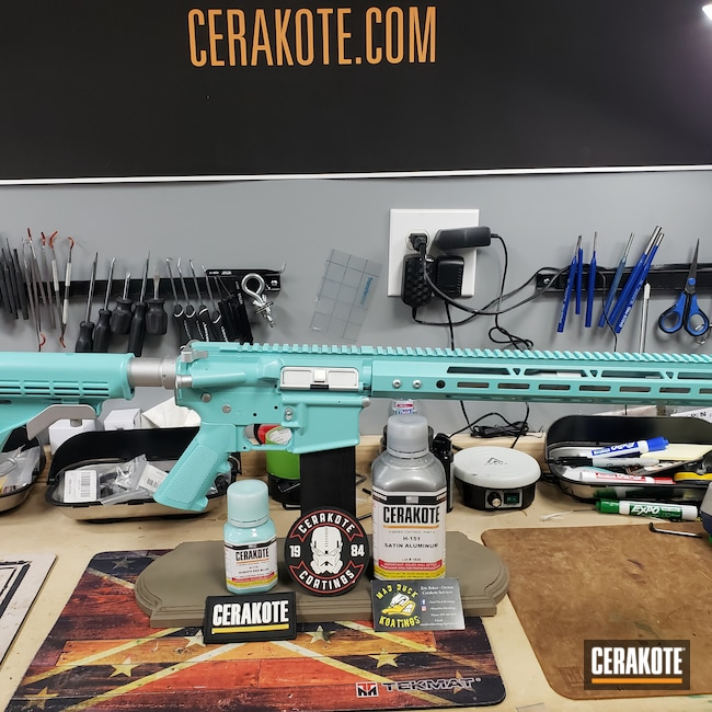 Cerakoted: S.H.O.T,Palmetto State Armory,Robin's Egg Blue H-175,Satin Aluminum H-151,Tactical Rifle,Guns for Girls,AR-15
