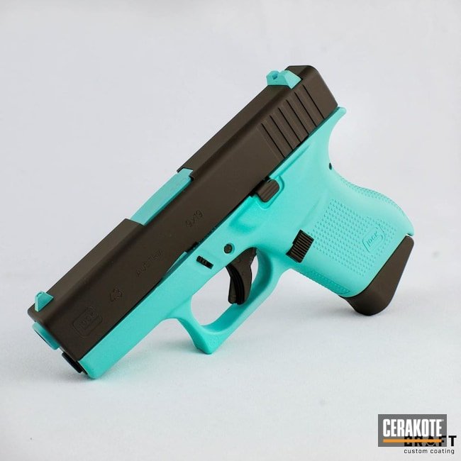 Cerakoted: S.H.O.T,Robin's Egg Blue H-175,Two Tone,Pistol,Glock,Guns,Chocolate Brown H-258,Glock 43