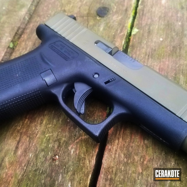 Cerakoted: S.H.O.T,9mm,#custom,Two Tone,Pistol,Glock,O.D. Green H-236