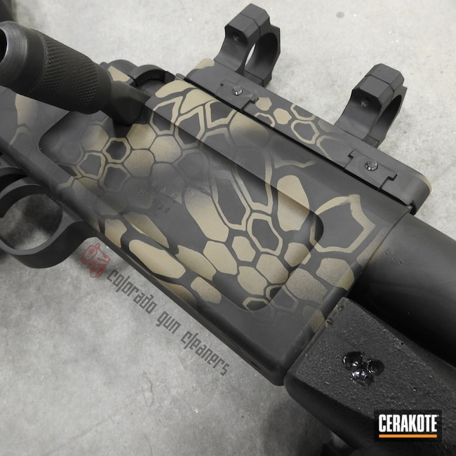 Cerakoted: S.H.O.T,Rifle,Bolt Action Rifle,Kryptek,.50 cal,MAGPUL® FLAT DARK EARTH H-267,Graphite Black H-146