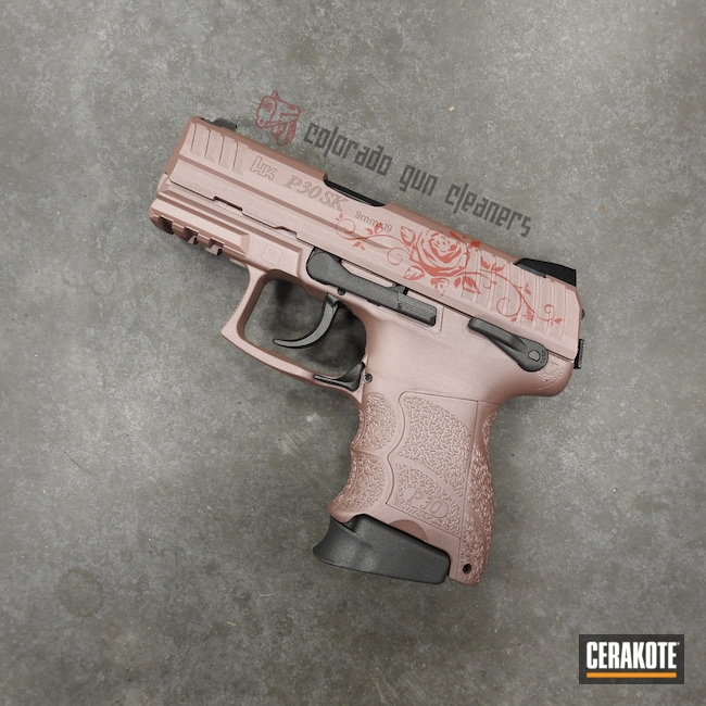 Cerakoted: S.H.O.T,PINK CHAMPAGNE H-311,HK P30,Tungsten H-237,HABANERO RED H-318,Pistol,Roses,HK
