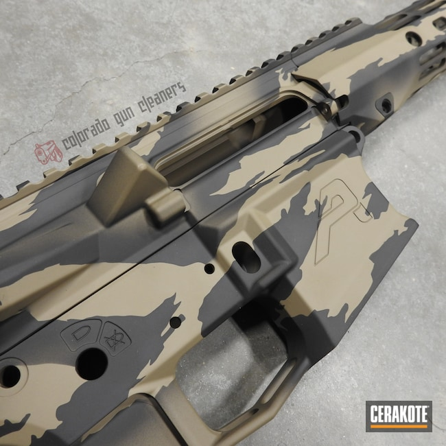 Cerakoted: S.H.O.T,Aero Precision,MAGPUL® FLAT DARK EARTH H-267,Graphite Black H-146,AR,Upper / Lower / Handguard,Stripe Camo